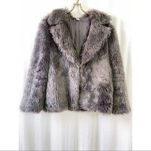 Boxy grey faux fur collared jacket